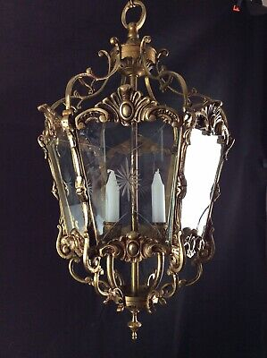 Stunning Large Heavy Antique French Bronze 6 Sided 2 Candle Ceiling Lantern
