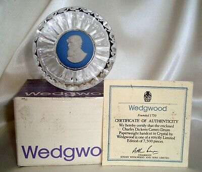 WEDGWOOD Crystal Paperweight w/ Blue & White Jasperware Cameo of Charles Dickens