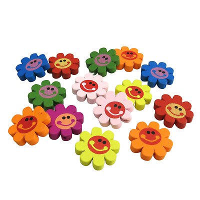 New In 30Pcs 23Mm Rainbow Multi Coloured Flower Shaped Smile Face Wooden Beads