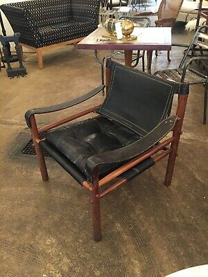 Arne Norell Safari Sirocco Chair Black Leather Rosewood Midcentury Vintage