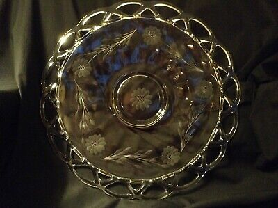 """Beautiful IMPERIAL LACE Crocheted EDGE Cornflower Etched GLASS PLATE 13 5/8"""""""