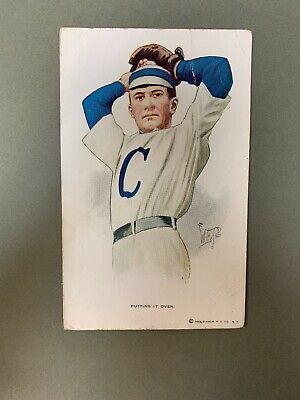 """Vintage 1900's Baseball Postcard Pitcher """"Putting It over"""" Awesome Display Item"""