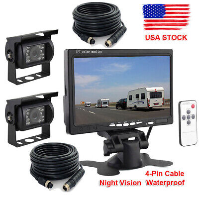 "2x Wired 33ft IR Rear View Back up Camera System+7""Monitor F Truck RV Car 12-24V"