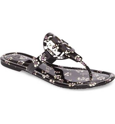 2978ad02c6ee NIB Tory Burch MILLER PATENT LEATHER BLACK STAMPED FLORAL Sandals Shoes 7.5  M