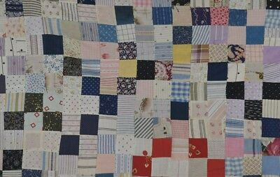 antique quilt patchwork small crib wall hang 39 x 39 blue white cotton