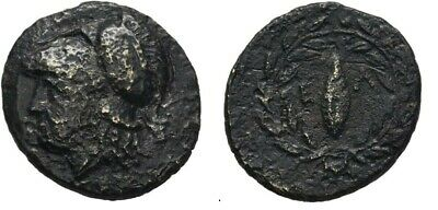 Ancient Greece 4-3 Cent BC AEOLIS ELAIA ATHENA WREATH BARLEY SEED