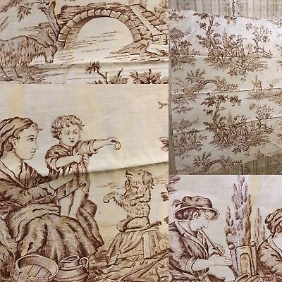 "Antique C1930 Tan French Toile de Jouy Panel Collectors 26""/34"" ideal projects"