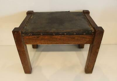 Antique Mission Oak Foot Stool w/ Leather Top Missions Arts & Crafts Stool