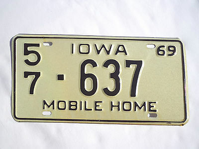 1969 IOWA MOBILE HOME License Plate Tag #57-637 Unused