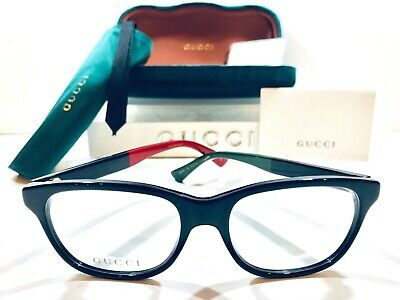 30c9db5166ba Gucci Women's Eyeglasses URBAN GG0166O 003 Black w/ Green/Red Tips New 52mm