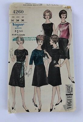 VINTAGE  VOGUE Special Design Dress Overblouse CUT  Pattern Sz 14 #4260