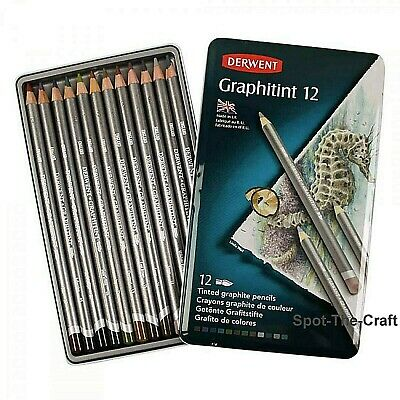 Derwent Graphitint Pencil Set 12 Tinted Graphite Pencils With Tin 0700802