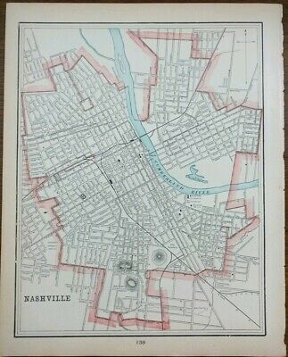 "NASHVILLE TENNESSEE 1900 Vintage Atlas Map 11""x14"" Old Antique OPRYLAND WHITLAND"