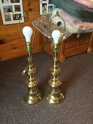 Matching Pair of Vintage Brass Table Lamps. 3 Way Switch. Excellent Condition!!