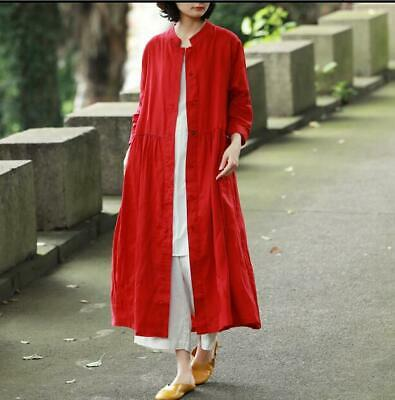 Cotton Linen Women Maxi Long Button Retro Custom Leisure Dress Coat Jacket 2019