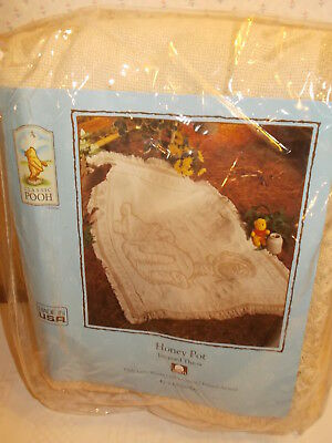 Classic Pooh Honey Pot JACQUARD Triple Layer Throw 47 x 68 Baby's Room or Couch
