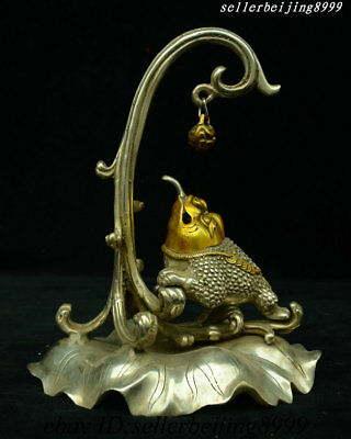 Collect China Silver Gold Lotus Golden Toad Spittor Incense Burner Censer Statue