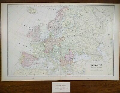 Map Of France England And Spain.Antique Map Europe Spain England France Prussia Italy 1879 Hand