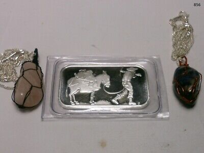 1 oz. SilverTowne Prospector and Donkey Silver Bar and 2 gemstone necklaces