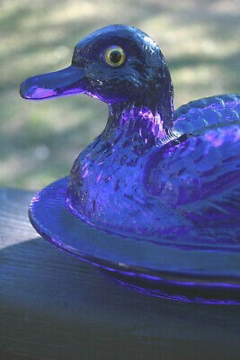 "Vntg Glass Cobalt Blue Duck Covered Candy Dish Westmoreland 8.5"" x 5"