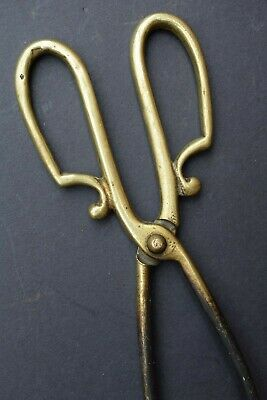 Vintage Art Nouveau Brass Coal Tongs old reclaimed antique fire stove woodburner