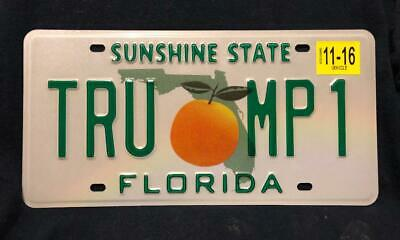 Florida License Plate reproduction TRUMP1 Embossed Reflective DMV Quality