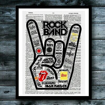 Rock Music Dictionary Art Print Vintage Retro Poster Modern Cool Wall Decor