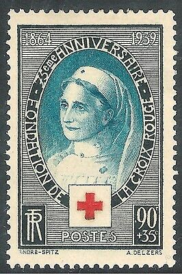 France 1939 75th Anniversary of Red Cross turquoise/black 90c + 35c mint SG634