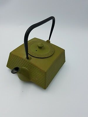 Japanese Tetsubin Cast Iron Lime Green Enamel Teapot Kettle W/ Infuser Textured