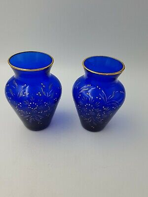 Antiqu Victorian Cobalt Blue Bristol Glass Posy Bud Vases Hand Painted Gold Pair
