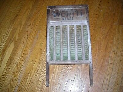 """Antique wooden wash board, made by """"Worth Brass"""", very good condition"""