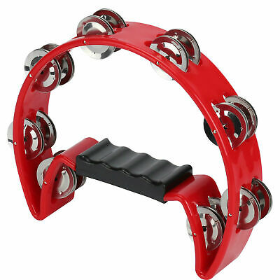 In Box Red or RED Half Moon Percussion Tambourine Shaker Instrument UK STOCK