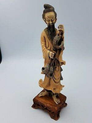 Vintage Chinese Resin Fisherman Old Man W/Fish Figurine Hand Painted Ornate Base