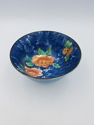 Japanese Porcelain Footed Bowl Blue White Rust Red Floral Gold Ribbed Exterior