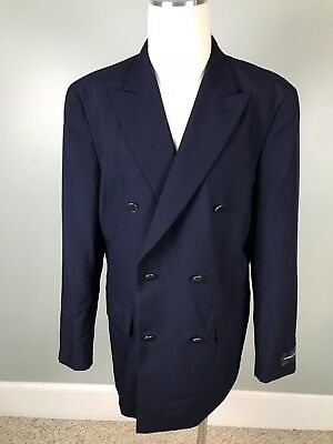 44L VITTORIO ST ANGELO Mens Double Breasted Blazer Blue Lined