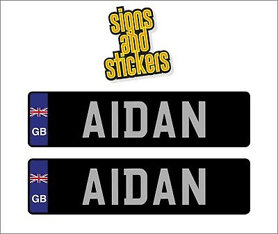 2 x LARGE KIDS PERSONALISED NUMBER PLATES CHILDRENS RIDE ON CAR STICKERS 12V 24V