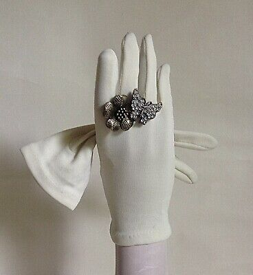 Vintage 1960s Nylon Ivory Dress Gloves Wedding Church Evening One Size 6 Approx