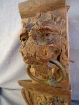 Two  Small 19Th Century Oak Carved Lion Heads