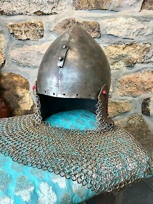 Medieval Bascinet Helmet With Chain Mail
