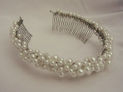 White Silver Pearl Tiara Wedding Bride Headband Hairband Hairpiece Headpiece