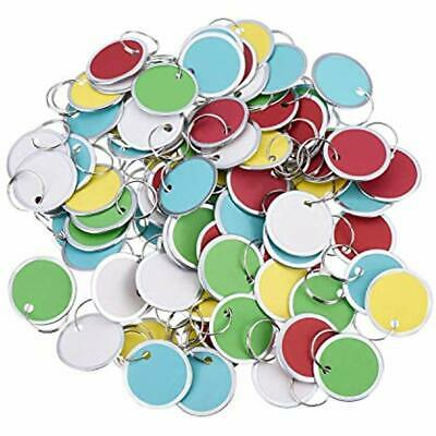 100 Key Tags & Chains Pieces Metal Rimmed Round Paper With Split Rings (31mm,