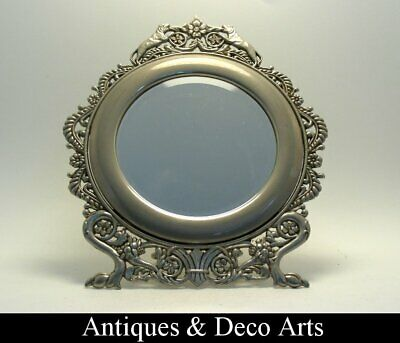 Pewter Art Deco Dressing Table Mirror with Lions
