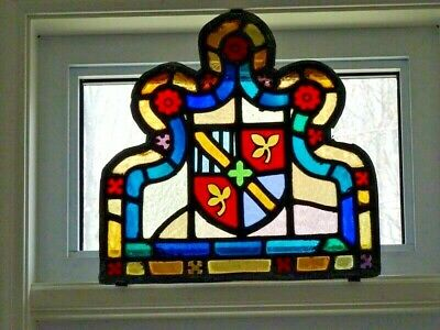 antique STAINED GLASS panel Gothic LEADED GLASS Armorial COAT of ARMS Heraldic