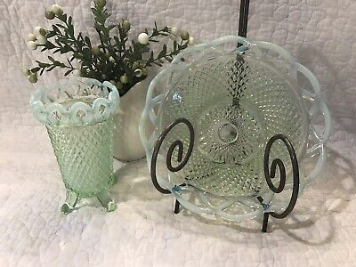 Imperial Glass Vintage Light Green Opalescent Diamond Open Lace Edge Bowl & Vase