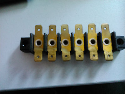 6 Way Terminal Block Connector May Be Bakerlite With Brass Terminals