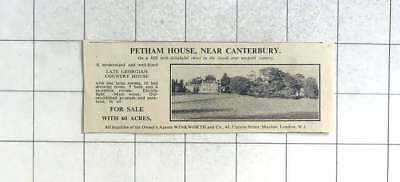 1936 Petham House Near Canterbury For Sale With 60 Acres 10 Bedrooms
