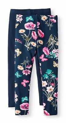 New Girls Blue Floral Flowers Butterflies Full Length Leggings Pants Sz 14-16