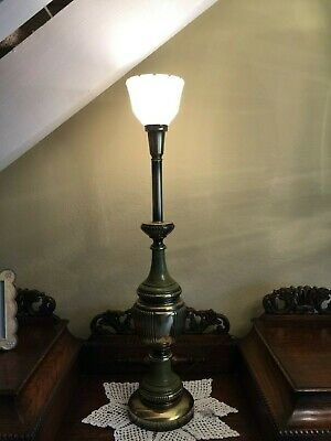 """Vintage Rembrandt Torchiere Table Lamp Brass & Green, 36 3/4"""" Tall"""