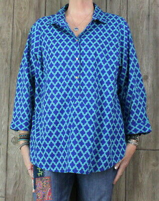9bd7be4c627 Lands End Blouse 20w 2x size Blue Teal Lightweight Top Womens Casual Plus  Shirt