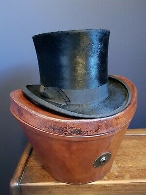 Antique Victorian Leather Travel Box Case with Top Hat